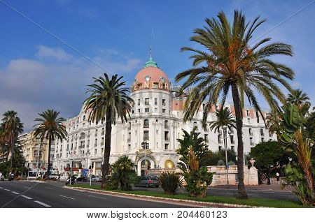 Nice, France - October 2012: Exterior of famous Hotel Negresco on Promenade des Anglais in Nice, France