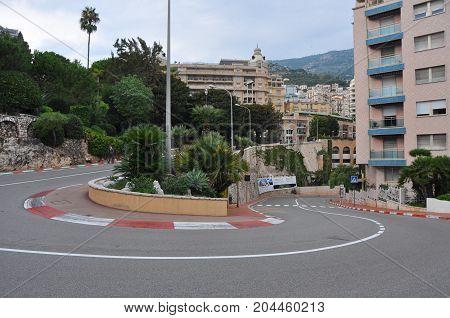 Monte Carlo, Mocao - October 2012: Hair pin of Formula 1 track in Monte Carlo in 2012