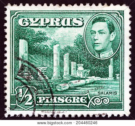 CYPRUS - CIRCA 1938: A stamp printed in Cyprus shows Salamis and King George VI, circa 1938.