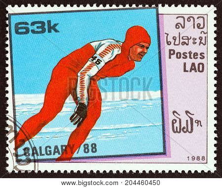 LAOS - CIRCA 1988: A stamp printed in Laos from the