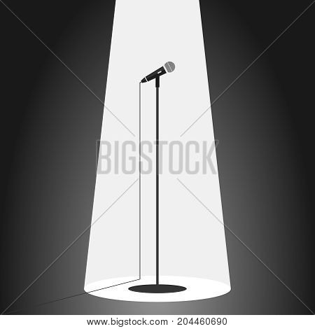 Microphone standing microphone. Flat design vector illustration vector.