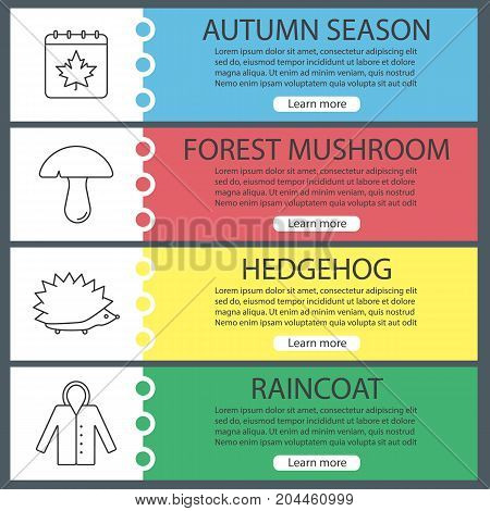 Autumn web banner templates set. Calendar page with maple leaf, mushroom, hedgehog, raincoat. Website color menu items. Vector headers design concepts