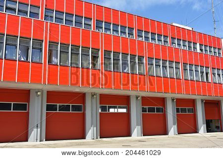 Fire station in the city in summer