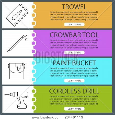 Construction tools web banner templates set. Rectangular notched trowel, paint bucket, crowbar, cordless drill. Website color menu items with linear icons. Vector headers design concepts