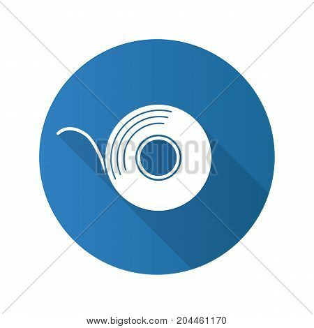 Adhesive tape roll flat design long shadow glyph icon. Insulating construction and electrical tape. Vector silhouette illustration