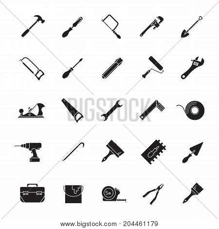 Construction tools glyph icons set. Renovation and repair instruments. Silhouette symbols. Jack plane, shovel, spade, cordless drill, measuring tape, chisel, pincers. Vector isolated illustration