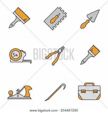 Construction tools color icons set. Paint brushes, rectangular notched trowel, triangular shovel, measuring tape, nippers, jack plane, crowbar, tool box. Isolated vector illustrations