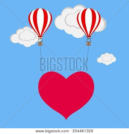 Balloon with heart. Two balloons lift the heart to heaven. Flat design vector illustration vector.
