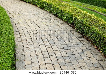 The old vintage rough brick walkway (footpath sidewalk) and shrubs in the garden for street background or texture - construction concept.