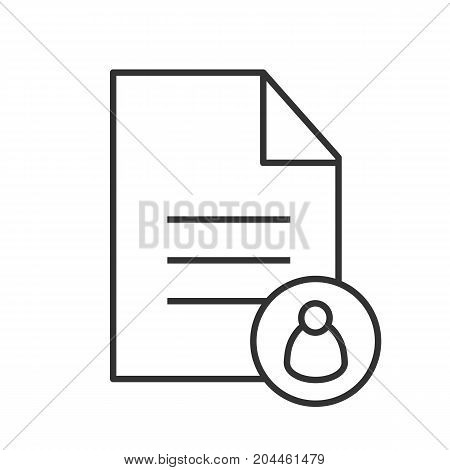 Personal document linear icon. Thin line illustration. Document with user. Contour symbol. Vector isolated outline drawing