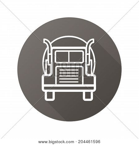 Oil tanker truck flat linear long shadow icon. Lorry. Vector outline symbol