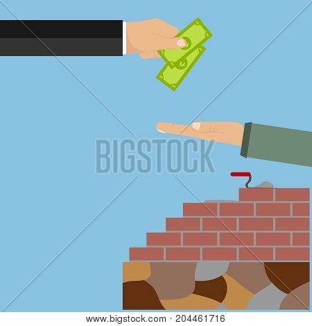 The hand holds out the money for the work done. Salary to the worker. Brick wall masonry. Flat design vector illustration vector.
