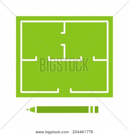 Floor plan glyph color icon. Flat blueprint. Silhouette symbol on white background. Negative space. Vector illustration