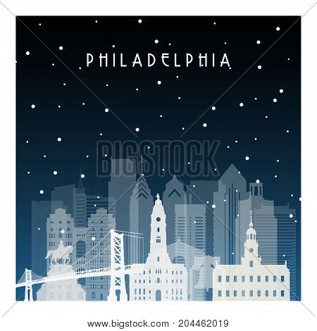 Winter night in Philadelphia. Night city in flat style for banner poster illustration game background.