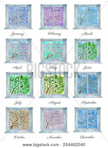 Collection of twelve seasonal trees in windows. Winter, spring, summer and fall concept. Watercolor illustration and template for calendar design