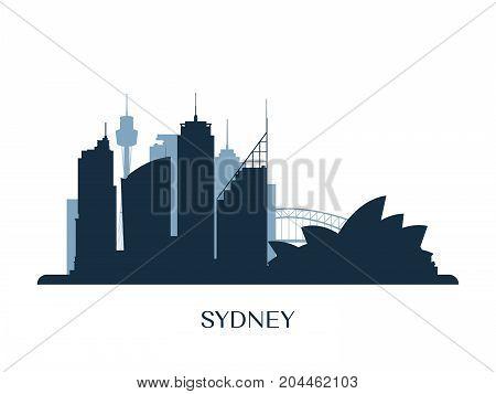 Sydney skyline monochrome silhouette. Design vector illustration.