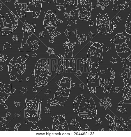 Seamless pattern with contour images cartoon cats white contour on dark background