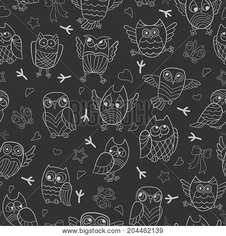 Seamless pattern with contour images of cartoon owls white outline on a dark background