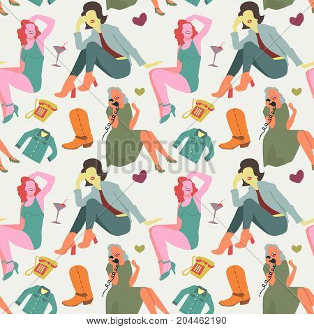 Retro Fashion Model Seamless Pattern. Vintage Woman Background. Faceless Girl. Vector illustration
