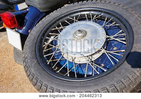 Spare tire of an old sidecar motorcycle