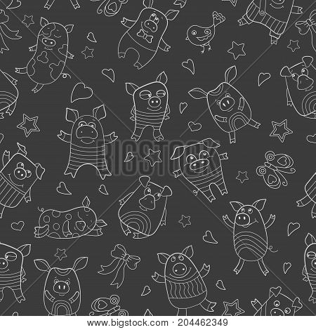 Seamless pattern with funny cartoon pigs white outline on a dark background