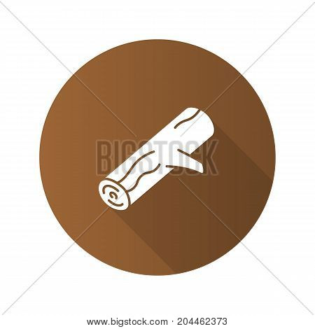 Firewood flat design long shadow glyph icon. Campfire wood. Vector silhouette illustration