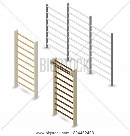 Wooden and steel Swedish walls isolated on white background. Element of design of sports equipment and playground. Flat 3d isometric style vector illustration.
