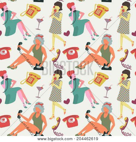 Faceless Woman Chatting on Vintage Phone Seamless Pattern. Retro Style Fashion Background. Pop Art Girl. Vector illustration