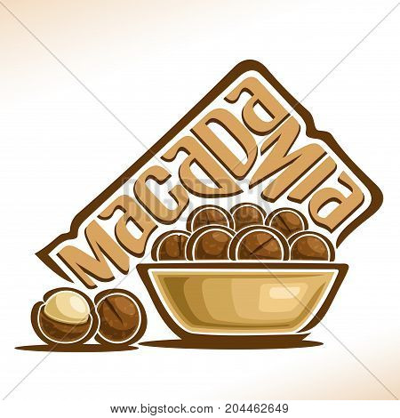 Vector logo for Macadamia Nut: in bowl pile of round cracked macadamia nuts in brown nutshell and shelled nutlet, design label with original handwritten font for text macadamia, still life composition