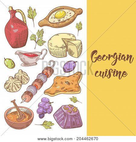 Hand Drawn Georgian Food Menu Cover. Georgia Traditional Cuisine with Dumpling and Khinkali. Vector illustration