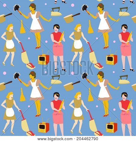 Housewife Retro Woman Seamless Pattern. Housekeeper Vintage Style Background. Faceless Girl. Vector illustration
