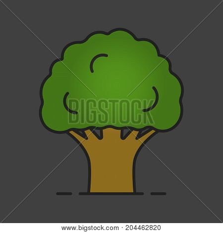 Oak tree color icon. Forestry. Forest tree. Isolated vector illustration