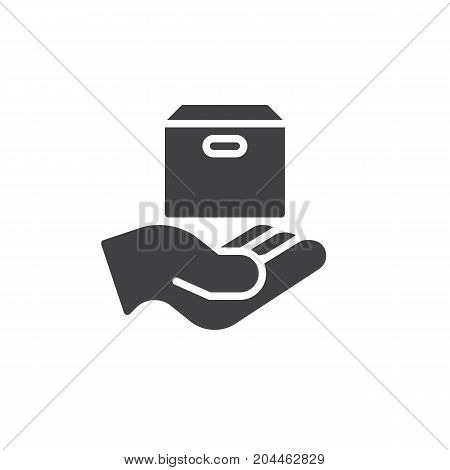Hand holding product box icon vector, filled flat sign, solid pictogram isolated on white. Sell symbol, logo illustration. Pixel perfect vector graphics
