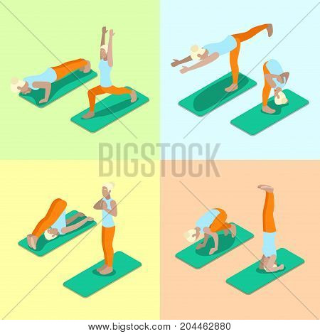 Isometric Woman Yoga Poses Exercise Gym Workout. Healthy Life Style. Vector flat 3d illustration