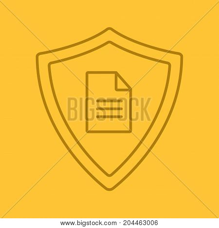 Personal document security linear icon. Protection shield with private document. Thin line outline symbols on color background. Vector illustration