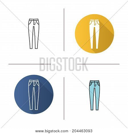 Women's skinny jeans icon. Flat design, linear and color styles. Isolated vector illustrations