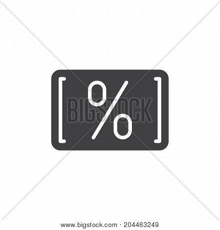 Card with percent icon vector, filled flat sign, solid pictogram isolated on white. Discount card symbol, logo illustration. Pixel perfect vector graphics