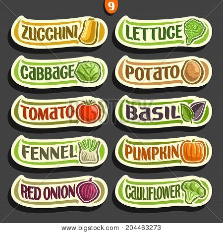 Vector Set labels with text for fresh Vegetables: 10 minimal signs of organic vegetables on black, set of cartoon simple stickers for packing vegan nutrition with original font, tags for veg produce.