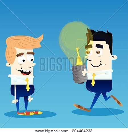 Happy smiling successful businessman give idea bulb to another. Vector cartoon character illustration.