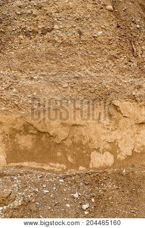 background of rocks from clay and stone after a landslide
