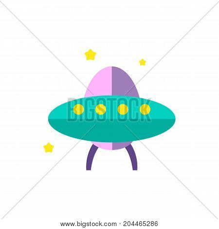 Icon of alien spaceship. Ufo, Martian, invader. Cosmos concept. Can be used for topics like space exploration, science fiction, mystery