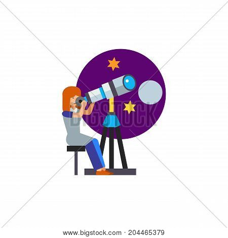 Icon of astronomy scientist. Telescope, occupation, astrophysics. Cosmos concept. Can be used for topics like observatory, space exploration, research