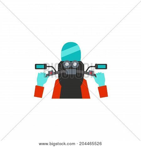 Icon of biker riding motorcycle. Handle, dashboard, lifestyles. Racing motorbike concept. Can be used for topics like speed, competition, travel