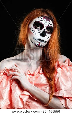 Body art painting. Professional photo darkness background vertical. Dead God. White skin girl.