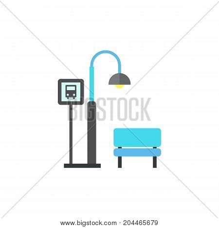 Icon of bus stop. Lantern, bench, bus sign. Public place navigation concept. Can be used for topics like street, night, public transport