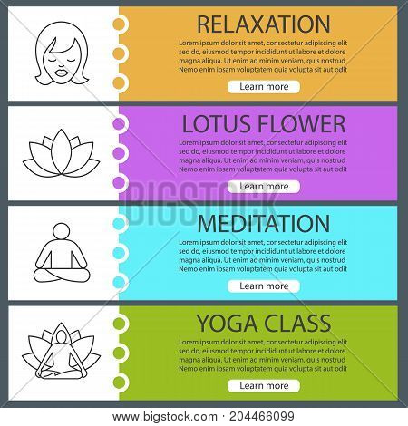 Spa salon web banner templates set. Woman with closed eyes, yoga asanas, lotus flower. Website color menu items with linear icons. Vector headers design concepts