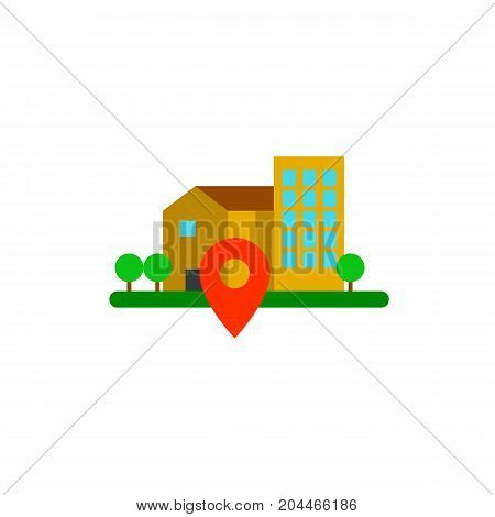 Icon of geo location. Houses, map pointer, dwelling. Public place navigation concept. Can be used for topics like residential district, searching place, route