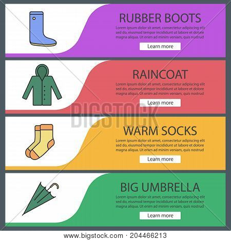 Autumn clothes web banner templates set. Rubber boot, raincoat, warm socks, umbrella. Website color menu items. Vector headers design concepts