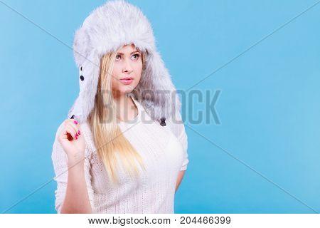 Blonde Woman In Winter Warm Furry Hat