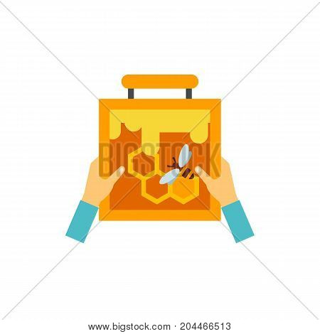 Icon of hands with honeycomb. Beekeeping, hobby, honey. Bee garden concept. Can be used for topics like summer, apiary, superfood